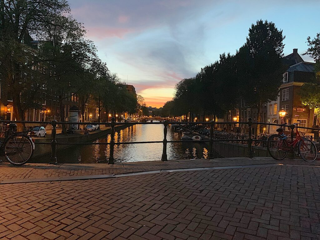 Amsterdam at sunset.